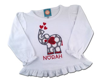 Girl's Valentine Shirt with Elephant, Hearts and Embroidered Name