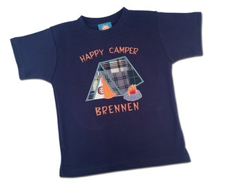Boy's Happy Camper Shirt with Embroidered Name - M28