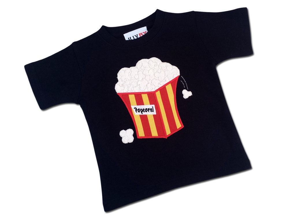 Boy popcorn shirt with embroidered name by sunbeamroad on etsy