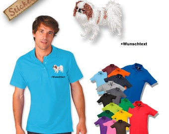 Polo shirt cotton embroidered embroidery dog JAPANESE CHIN + own words