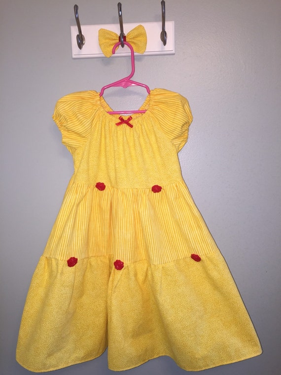 Belle inspired dress yellow red roses FREE SHIPPING