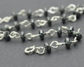Hematite Bracelet, Sterling Silver Bracelet, Bead, Stone, Gemstone Bracelet, Handmade links