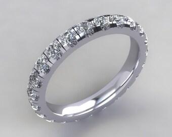 Eternity Band 14kt  White Gold Round White Russian Diamond Simulants Eternity Band Wedding Band Wedding Ring Anniversary Band