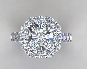 18k White Gold Engagement Ring Forever One Cushion Cut Ring 7mm Moissanite Center & Moissanite Halo and Sides  Pristine Custom Rings