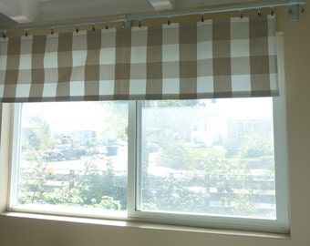 Large Beige Light Khaki Buffalo Check Plaid Cafe Curtain