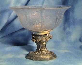 Antique Everlight L. Co. Glue Chip Glass Bowl with Spelter Metal Pedistal - Circa 1927 (272)