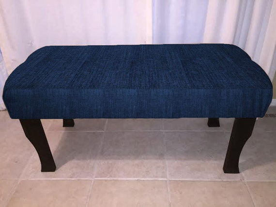 Upholstered Bench Ottoman With Navy Blue Fabric Tufted Or