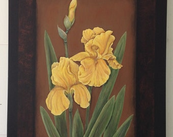 Yellow Iris Acylic Painting