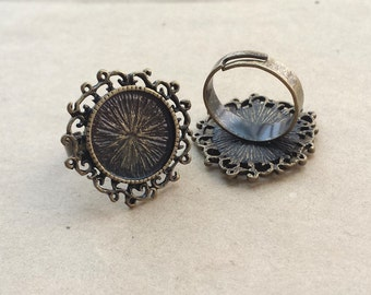 5pcs  Antique Bronze  Ring , Adjustable Rings With 15mm Filigree  Pad RB014c