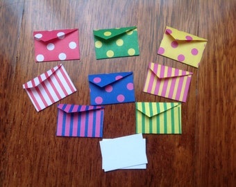 Tiny cards, mini cards and envelope set, fairy notes, tiny stationery, spots and stripes, stationary