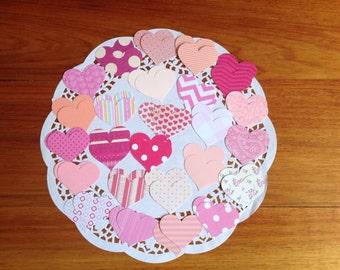 Love heart confetti, paper confetti, tags, pink love hearts, love heart tags