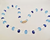 Vintage Clear and Blue Faceted Glass Bead Necklace