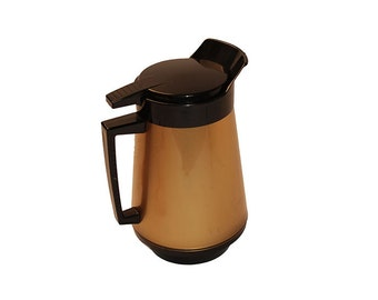 West Bend Thermo Serve Insulated Coffee Pot - Vintage Carafe, Gold & Black Plastic, Vintage 1950s