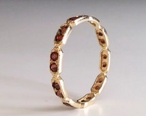 Garnet Eternity ring -  Red stone ring - thin band - dainty gold ring - stacking ring