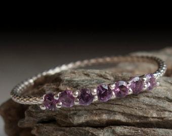 Alexandrite ring - Half eternity - stacking ring - purple stone ring