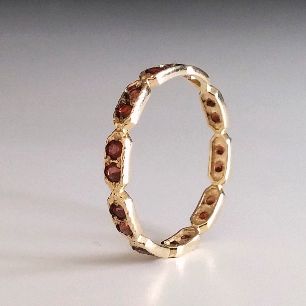Garnet Ring Bands: Garnet Eternity Ring Red Stone Ring Thin Band Dainty