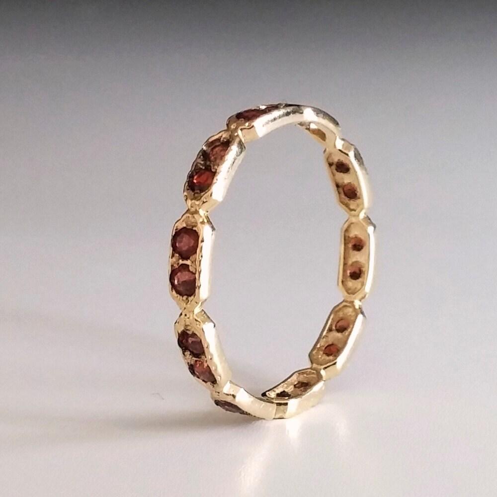 Garnet Bands: Garnet Eternity Ring Red Stone Ring Thin Band Dainty