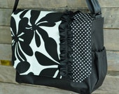 black and white, polka dot, canvas laptop messenger bag,seat belt strap, black, diaper bag, stroller bag, book bag, iPad bag, ruffle