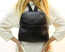 Sale!!! Black leather backpack bag - Black Leather bag women backpack leather