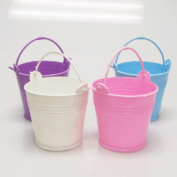 Plastic mini bucket favors inch pack by partyspin on etsy