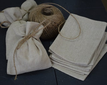 SET 90 Rustic Linen Eco Wedding Favors Bag +FREE Shipping