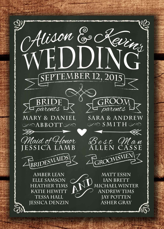 chalkboard wedding program sign printable wedding program