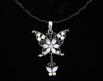 Crystal Butterfly Pendant Charm With Black Beads Beaded Chain Necklace Clear White