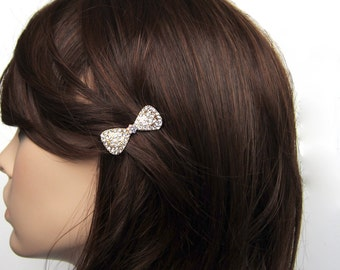 Crystal Bow Ribbon Small Barrette Hair Clip Accessory Gold Tone Clear Clear AB