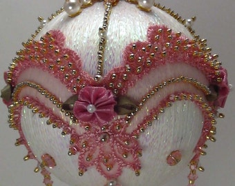Victoriana-Rose Victorian Theme - A Finished Hand Made Beaded Satin Ornament With Crystals