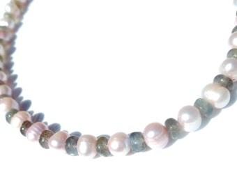 Gemstone necklace ,Labradorite necklace,Peal necklace,Pink pearl collar,Pink necklace,Gemstone jewelry,Grey stone necklace,Bride jewelry