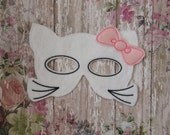 Machine Embroidery Design,  kitty hello inspired mask in the hoop