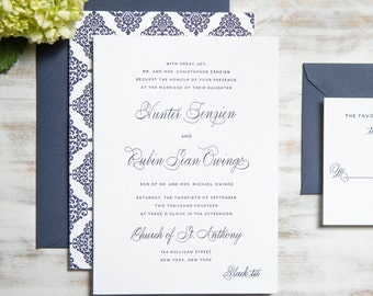 The Hunter Suite | Navy Letterpress Wedding Invitation SAMPLE
