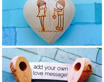 Wooden Heart with Secret Compartment and Scroll-Yo-Yo Design