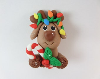 Cute Reindeer. christmas Clay Charm Bead, Scrapbooking, Bow Center, Pendant, Cupcake topper, Magnet 2906