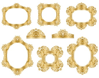 GOLD Digital Frame Clip Art Gold Frame Clipart Flourish Swirl Frame Ornate Antique Frame Clip Art Gold Digital Flourish Swirl Frame 0149