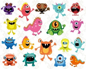 Instant Download Monster Clip Art Digital Little Monster Clipart Scrapbooking Monsters Baby Shower Birthday Invitation Cards Making 0152