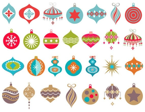 Instand Download Digital Christmas Ornaments Clip Art Red Blue
