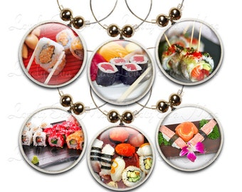Sushi Wine Charms, Sushi Wine Glass Charm, Wine Gifts, Japanese Gifts, Wine Accessories, Japanese Food, Oriental Food Gifts, Asian Food