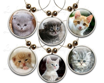 Kitten Wine Charms, Kitty Wine Glass Charm, Wine Gifts, Cat Gifts, Wine Accessories, Cat Lover, Kitten Gifts, Cat Wine Charm, Set of Six