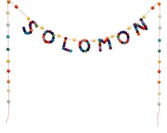 Personalised 7 Letter Child's Name Felt Ball Pom Pom Nursery Garland Bunting Custom Made