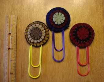Set of 3 Wool Penny circle Bookmarks  For Marking Books, Files, Folders, etc.  Great Gift!
