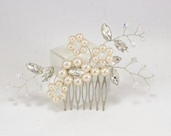 Bridal hair piece Wedding hair accessories Bridal hair comb Bridesmaids hairpiece Bridesmaids headpiece prom flower Swarovski Pearl Crystals