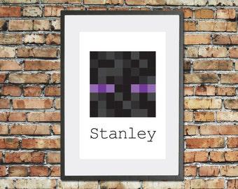 Minecraft Enderman Inspired Print. Childs personalised name print. Kids video game pixel wall decor. Custom gaming bedroom art