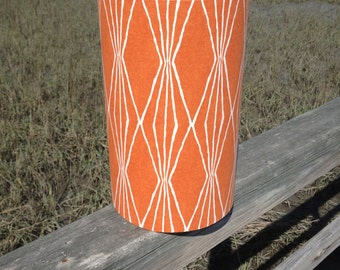Tall Orange Drum Lamp Shade Robert Allen Handcut Ivory Shapes Fabric
