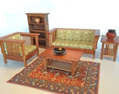 Mission Couch and Chair set 1 inch scale miniature. In mahogany. William Morris Vine Sage upholstery. Arts and Crafts style. handcrafted
