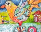 Bon voyage - original mixed media painting - raw - folk art - bird - Piarom