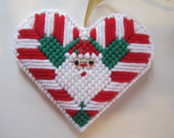 Handmade Santa Claus Candy Cane Christmas Ornament Two-Sided