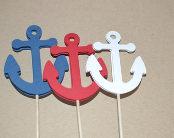 12 Anchor Cupcake Toppers, Nautical Cupacke Toppers, Anchor Party Decorations