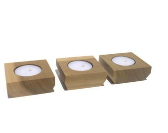 tealight holder , Set of Three made from Poplar with a natural finish.