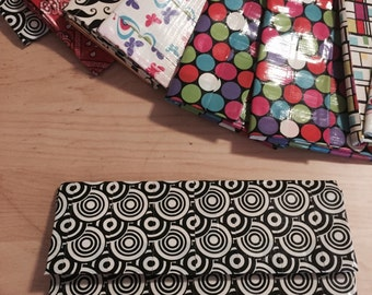 Black and white duct tape clutch wallet for your women's needs